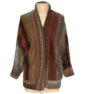 Long sleeve open front striped patterned cardigan